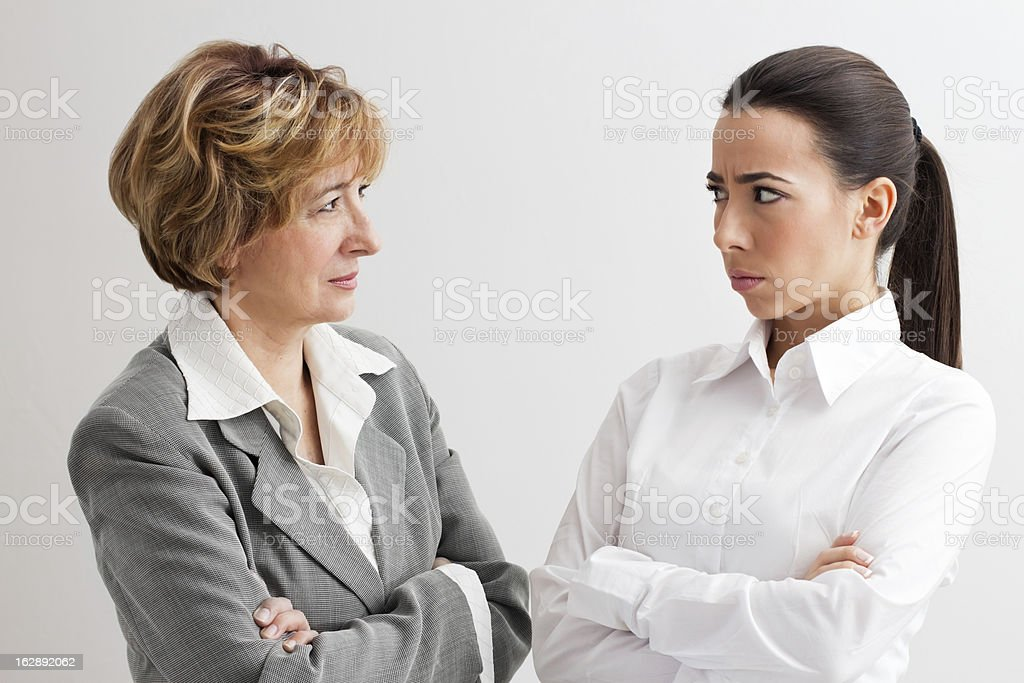 Angry female boss stock photo