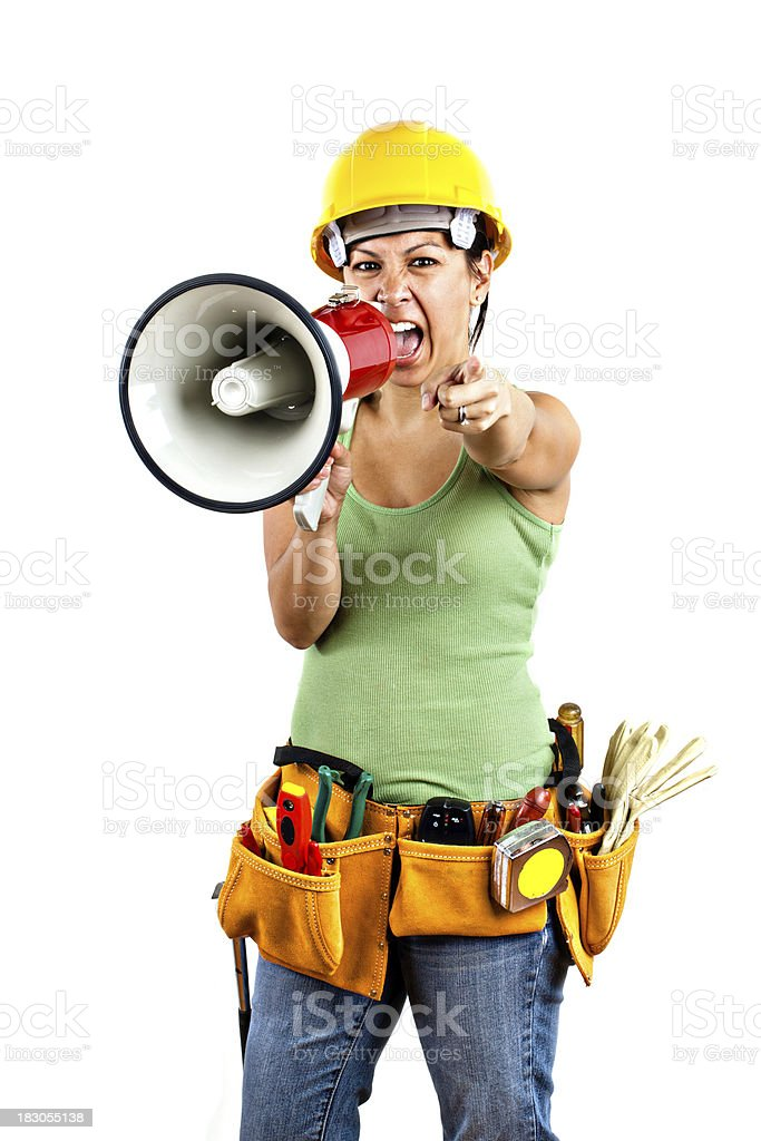angry female foreman yelling royalty-free stock photo