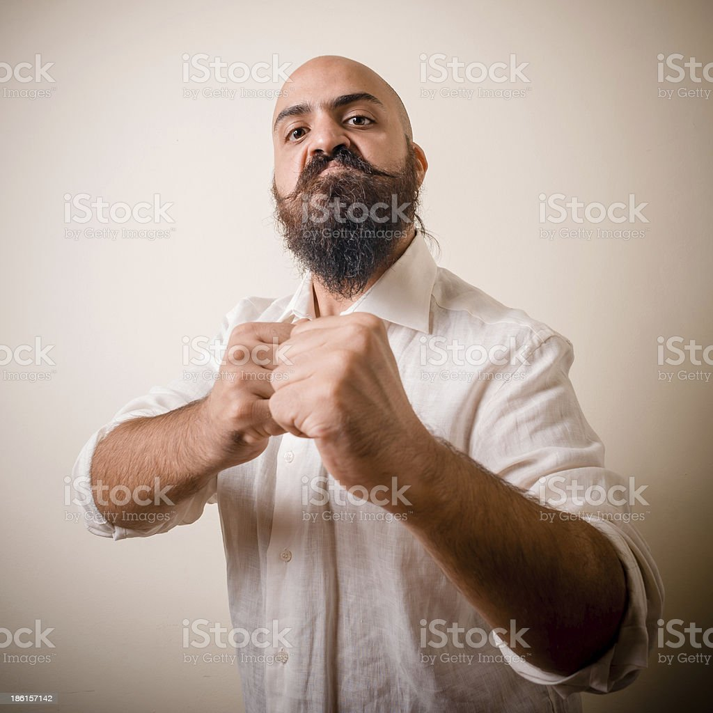 angry fighter long beard and mustache man royalty-free stock photo