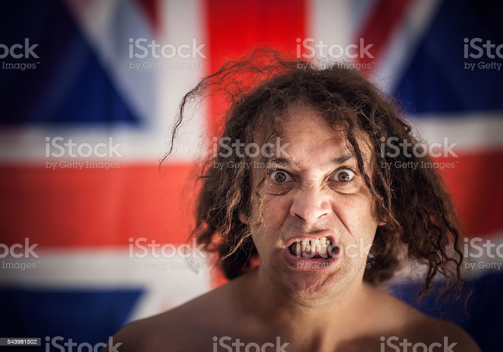 UK angry fighter stock photo