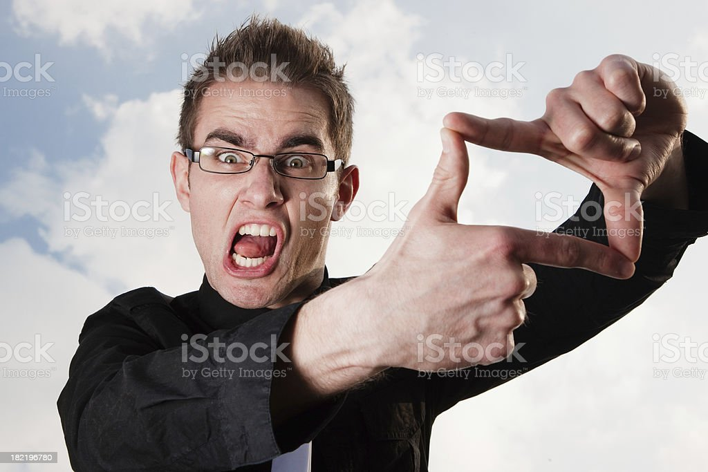 Angry Finger Frame Gesture. Picture this! stock photo