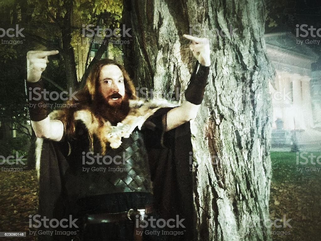 Angry Flipping the Bird Renaissance Gladiator Viking Medieval Political Statement stock photo