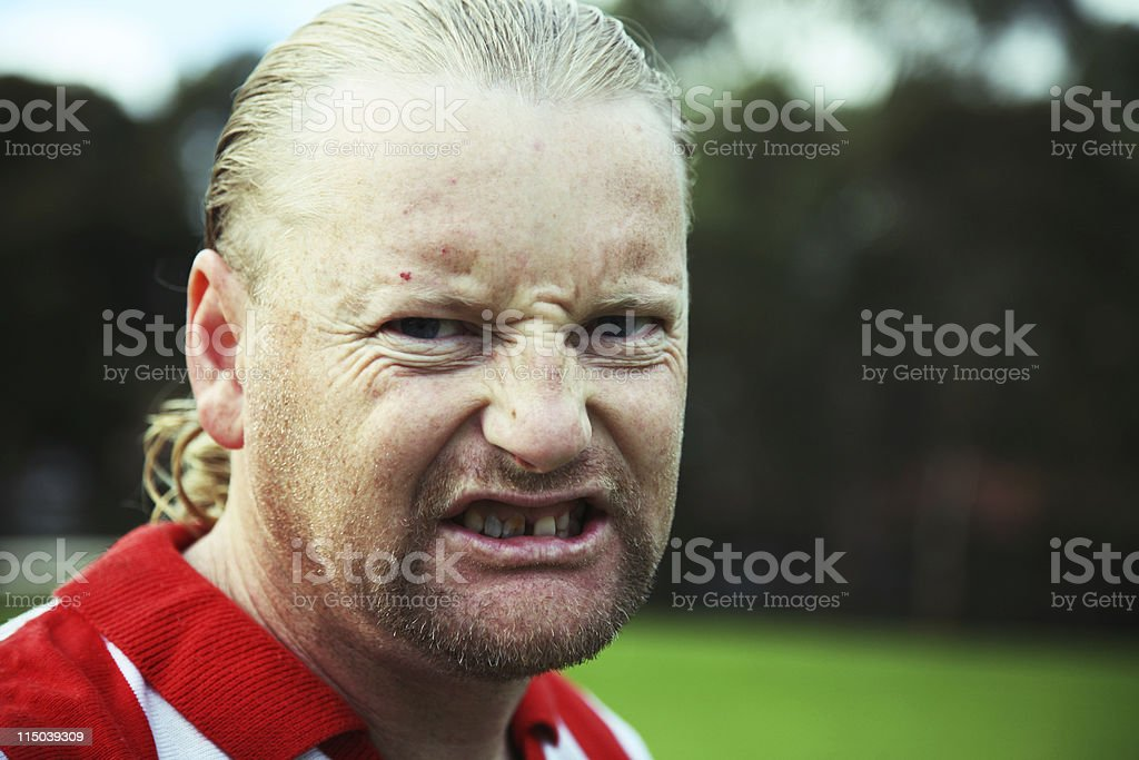 Angry footballer royalty-free stock photo