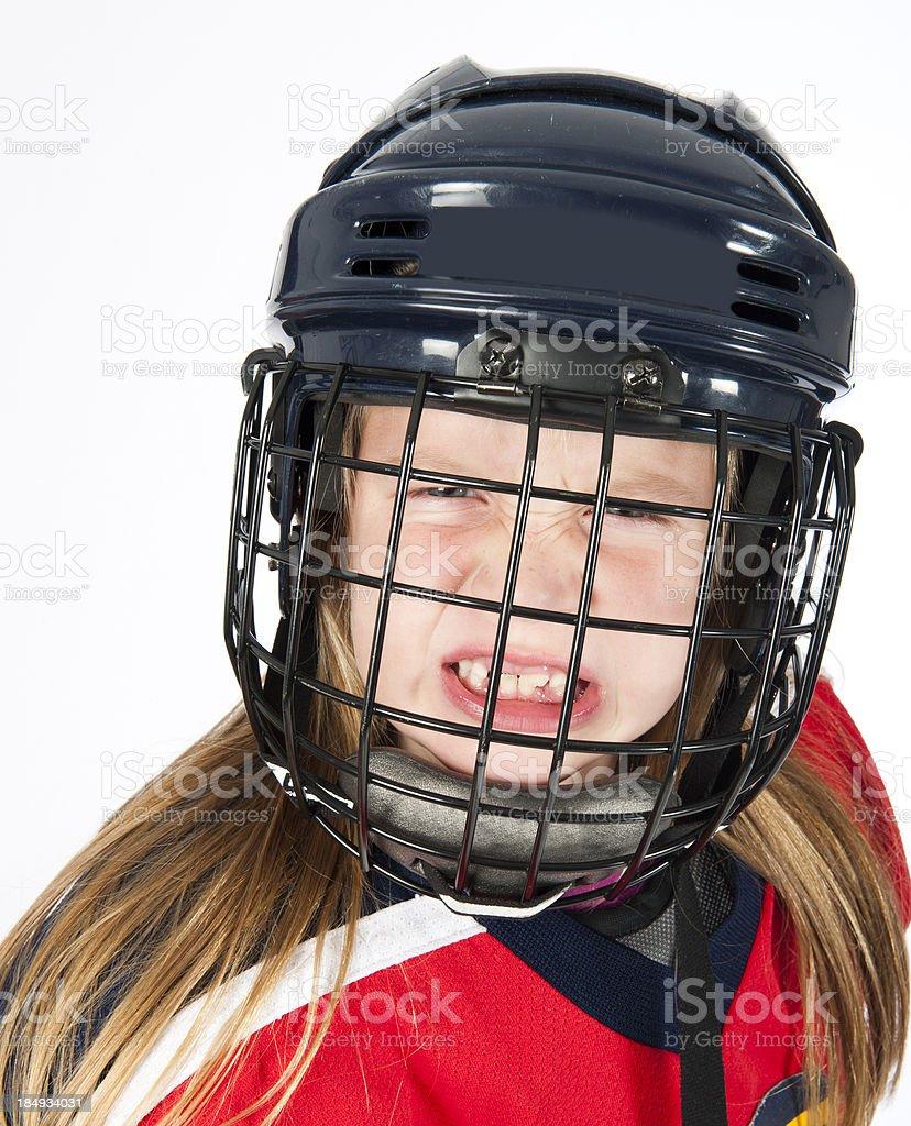 Angry girl hockey player royalty-free stock photo