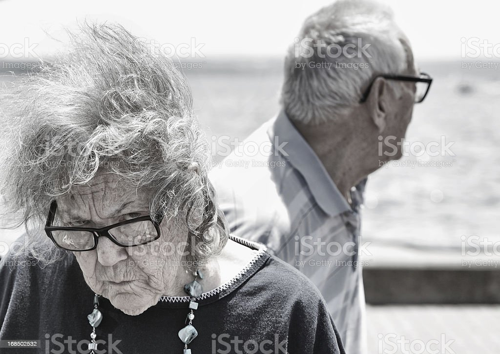 Angry Grandma With Wind Blown Hair royalty-free stock photo