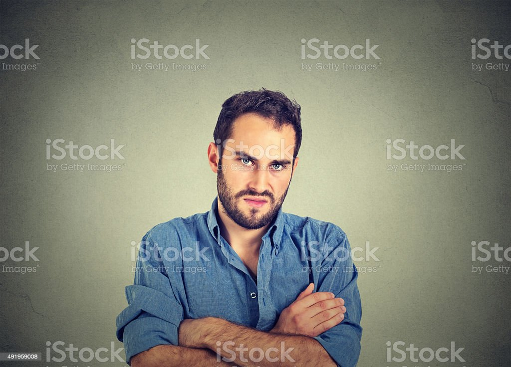 angry grumpy man, about to have nervous breakdown stock photo
