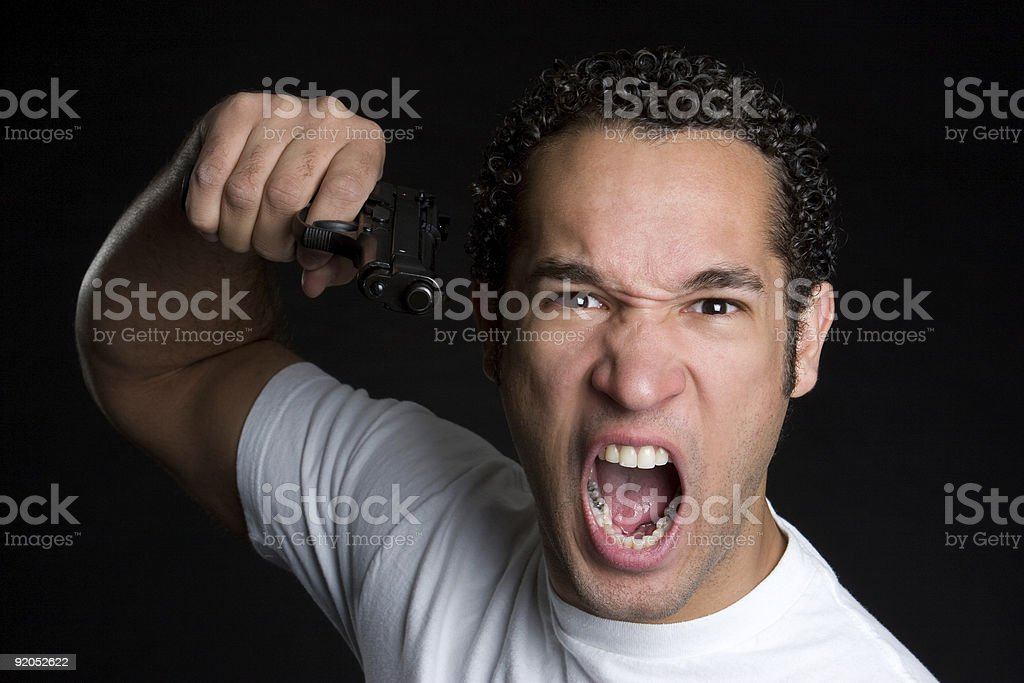 Angry gun man royalty-free stock photo