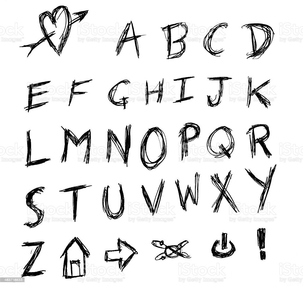 Angry hand writing alphabet scrached stock photo