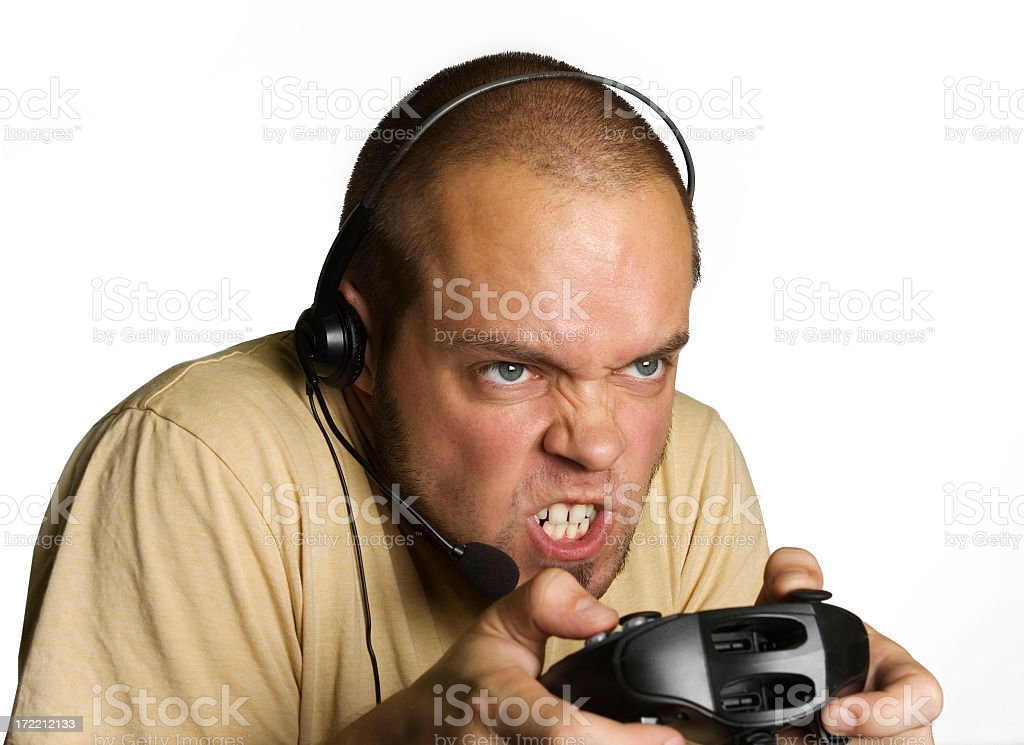 Angry Hardcore Gamer royalty-free stock photo