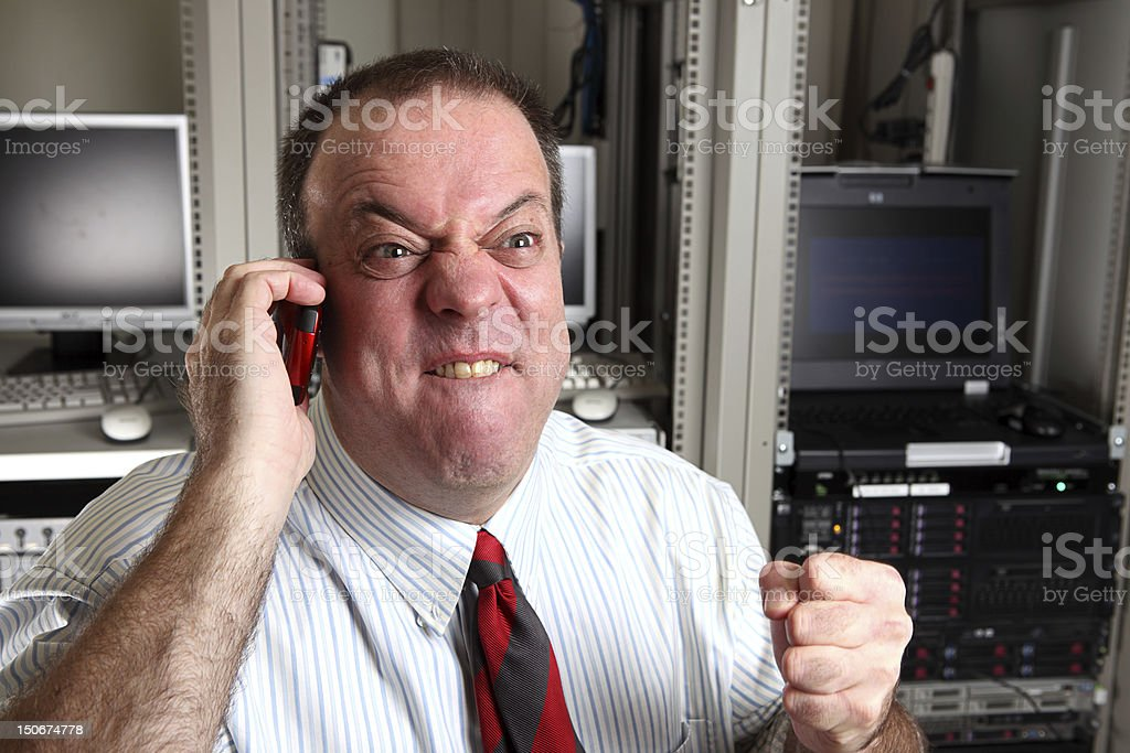 Angry IT manager stock photo