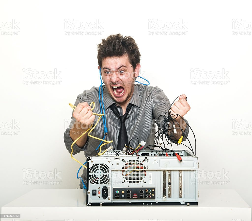 Angry It supporter gone mad stock photo
