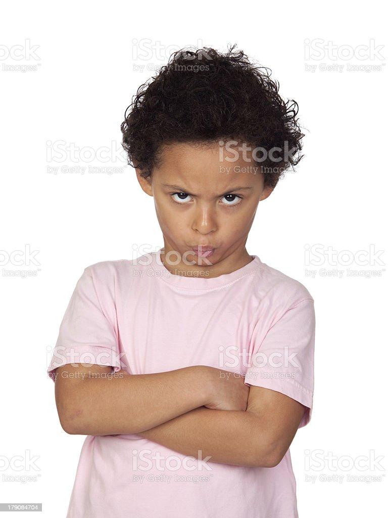Angry latin child royalty-free stock photo