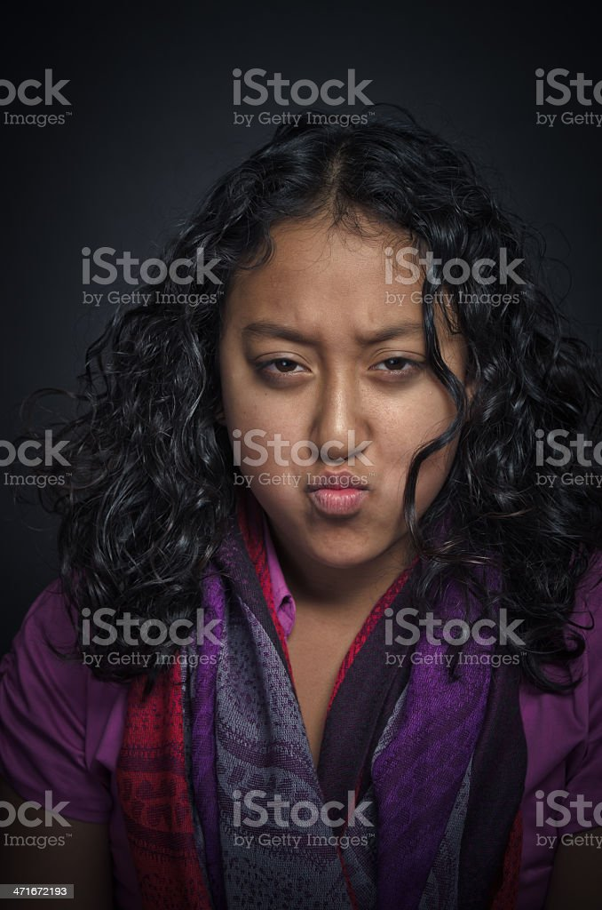 Angry Little Asian Girl royalty-free stock photo