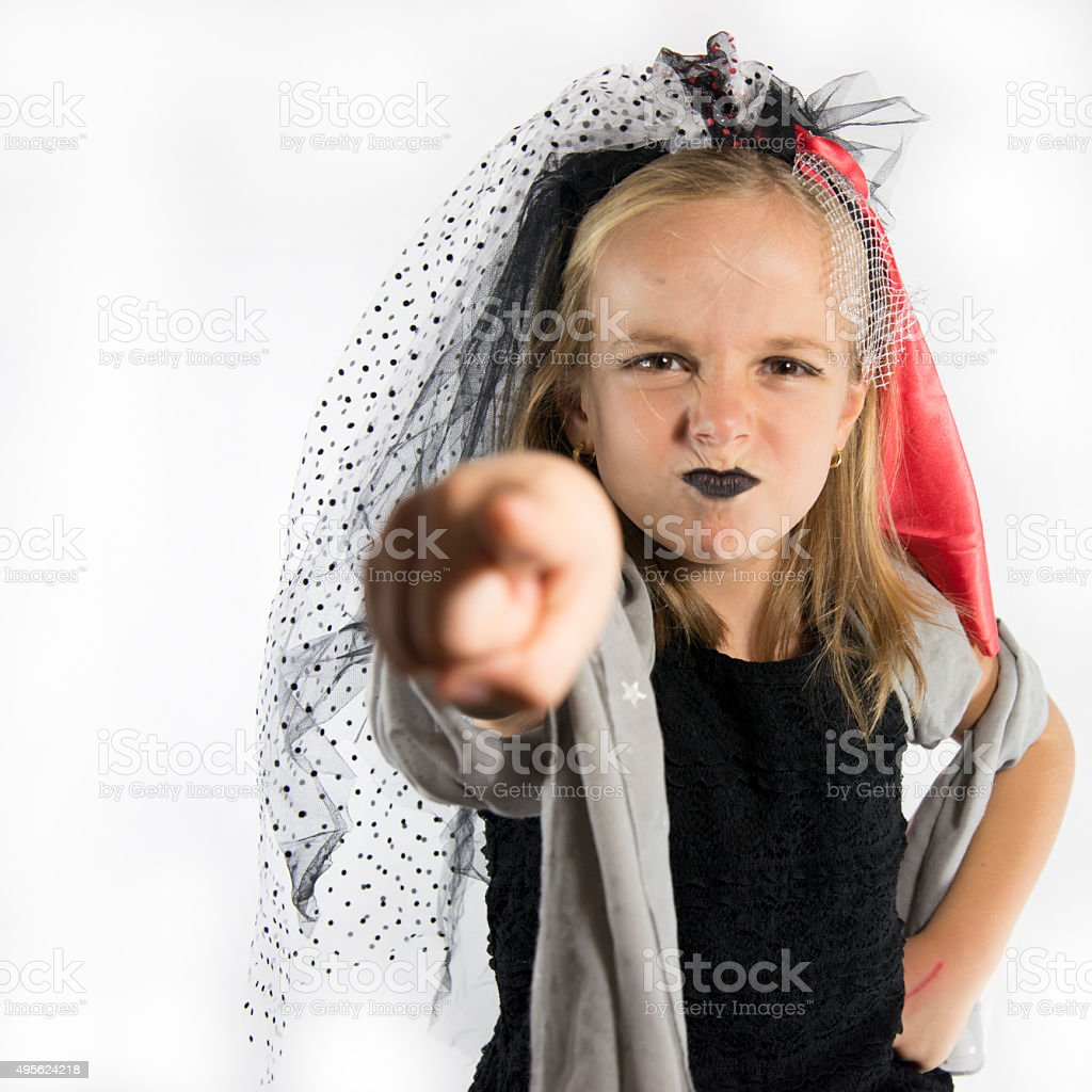 Angry Little Witch Pointing the FInger stock photo