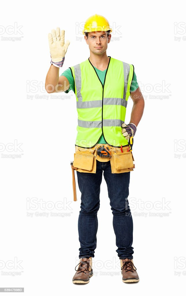 Angry Maintenance Engineer Gesturing Stop Sign stock photo