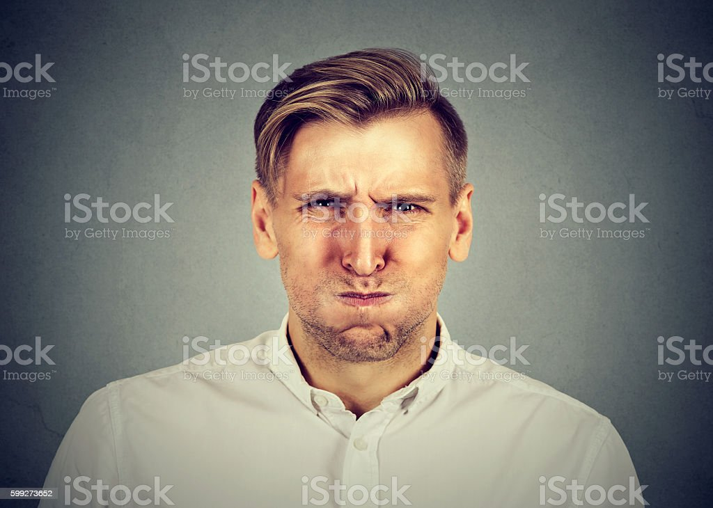 angry man, about to have nervous breakdown stock photo