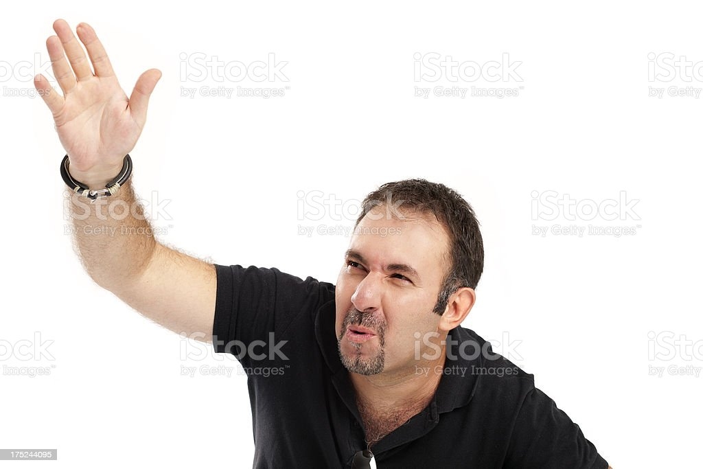 Angry man doing hand sign royalty-free stock photo