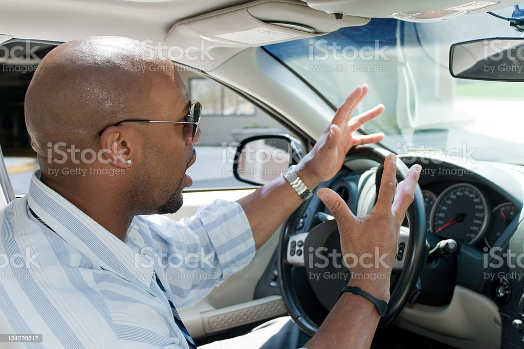 Angry Man Experiencing Road Rage stock photo
