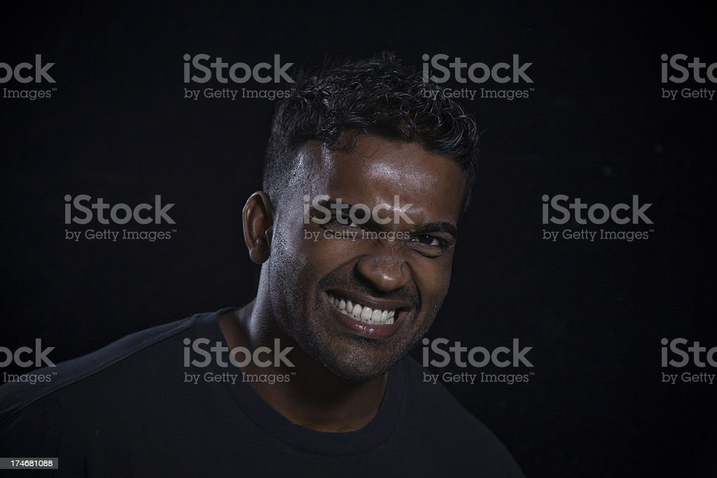 angry man head and shoulders stock photo
