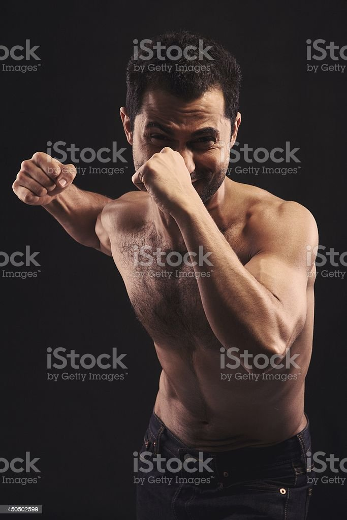 Angry Man On Attack royalty-free stock photo