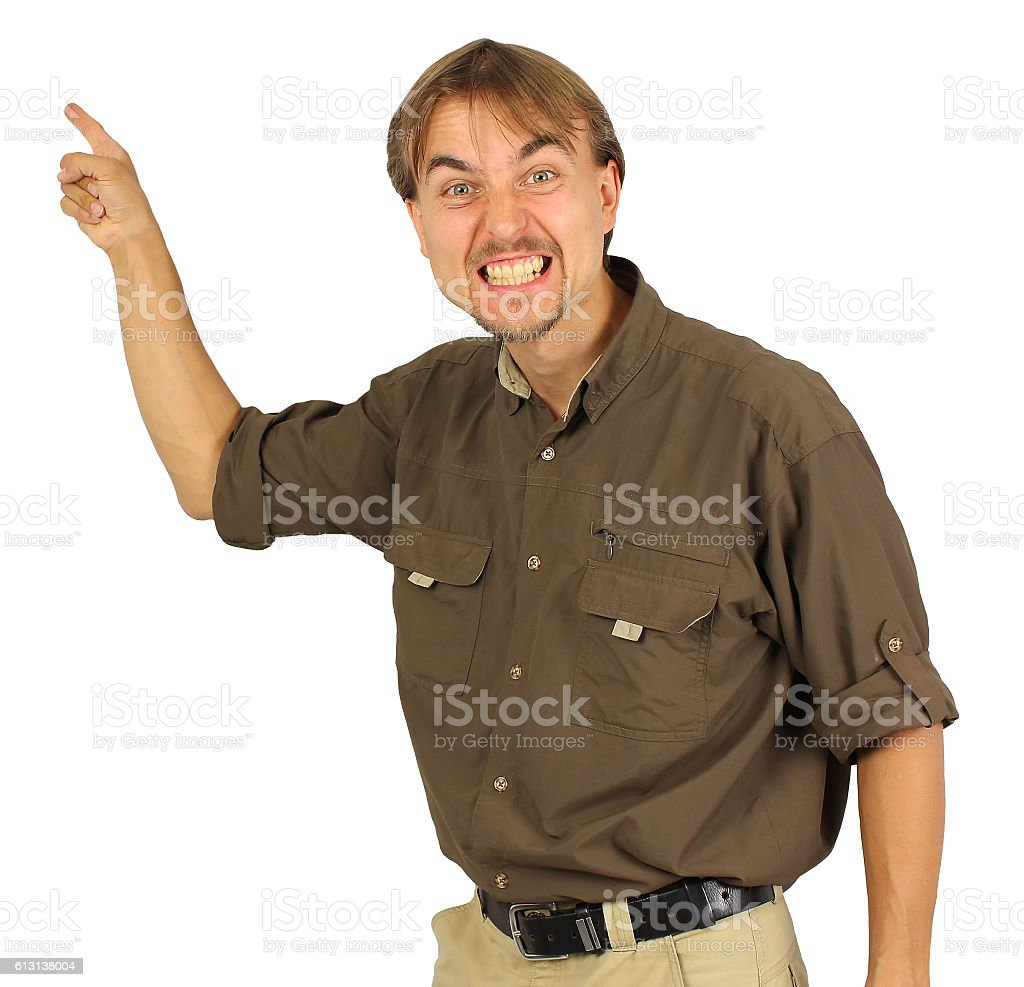 angry man points by his hand on the board behind stock photo