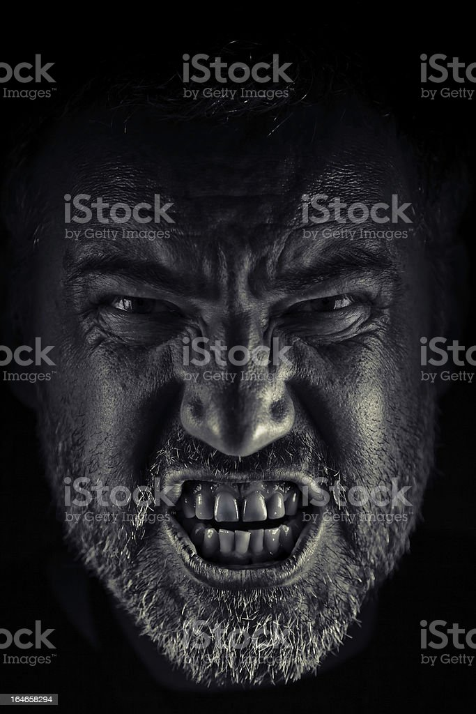 Angry man Portrait. Bw Image stock photo