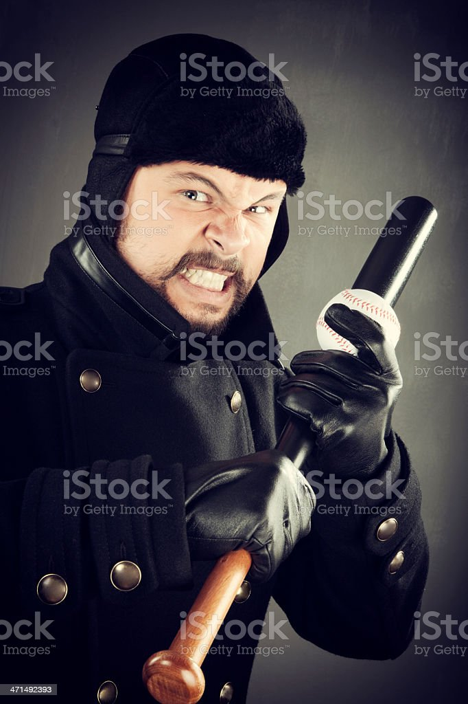 Angry man ready baseball royalty-free stock photo