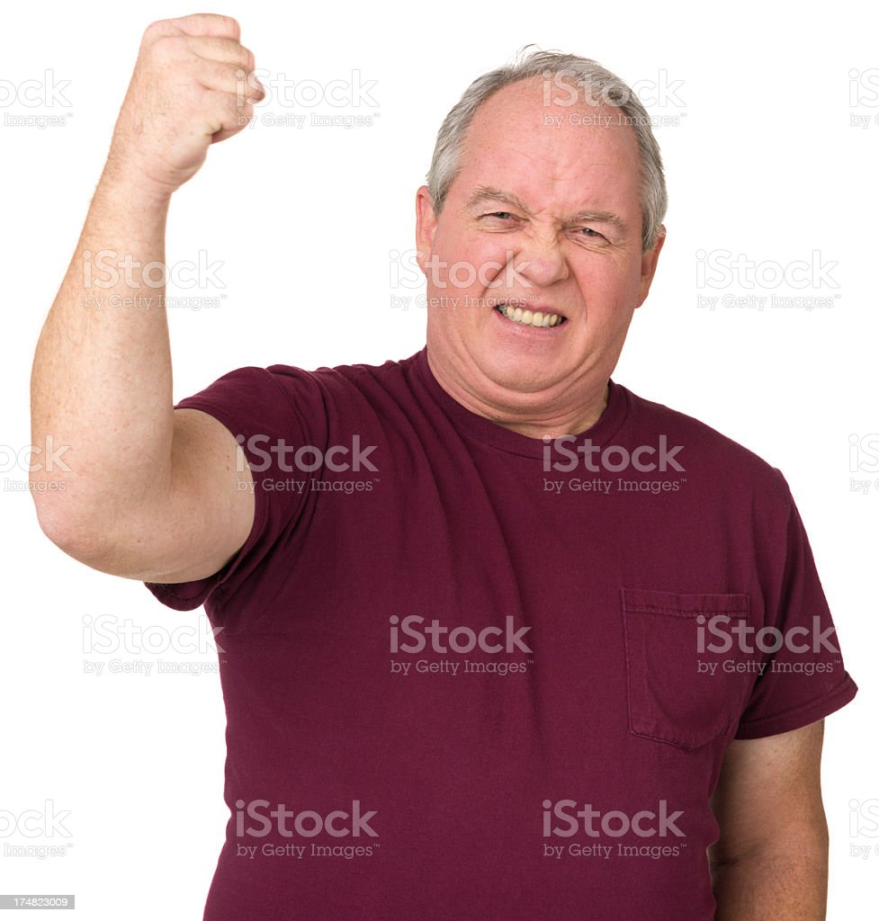 Angry Man Shaking Fist stock photo
