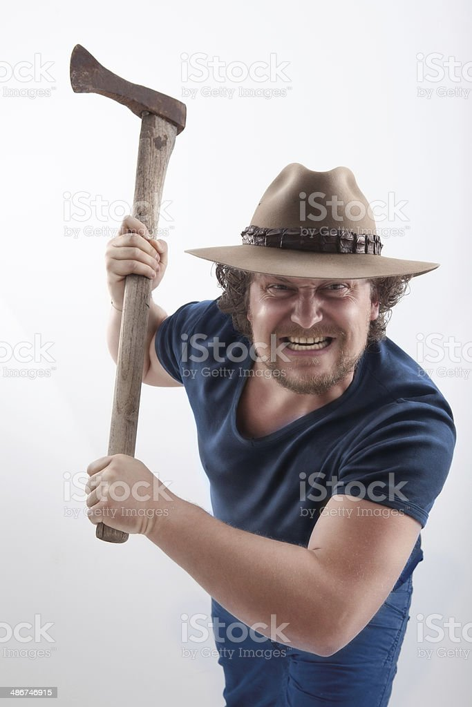 Angry man with Ax royalty-free stock photo