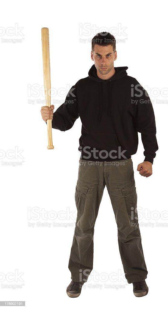 Angry man with baseball bat royalty-free stock photo
