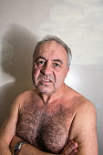 Angry mature man  portrait close-up