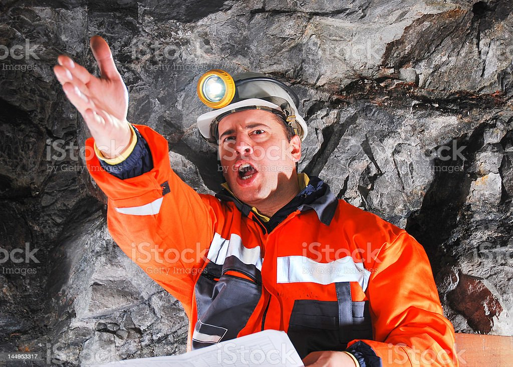 angry mine worker royalty-free stock photo