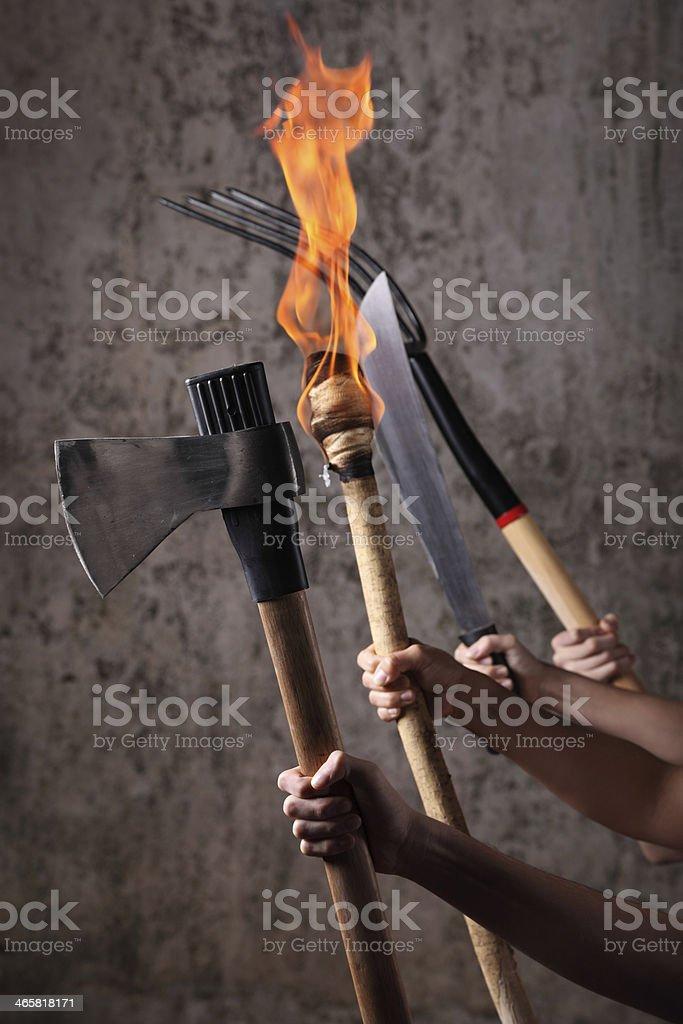 Angry mob stock photo