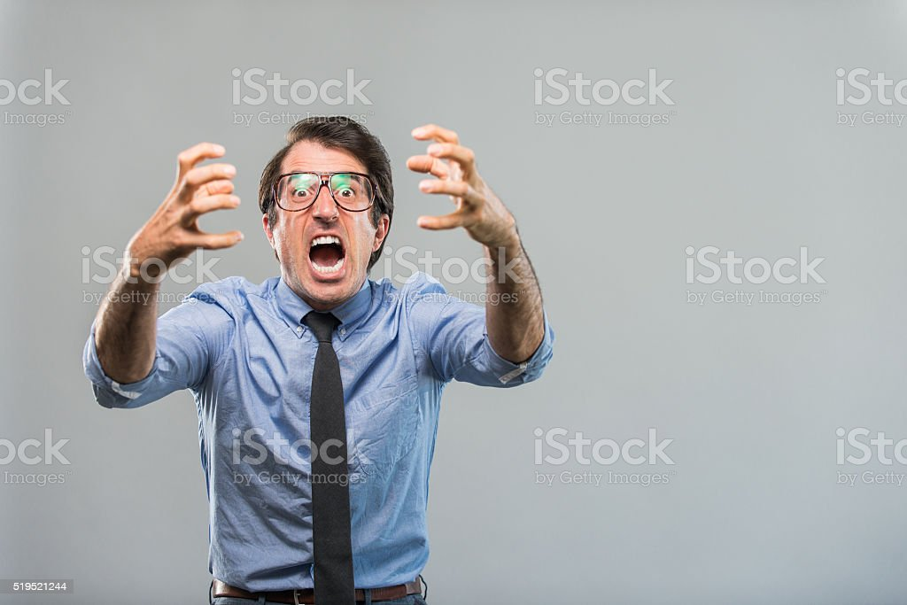 Angry Nerdy Businessman stock photo