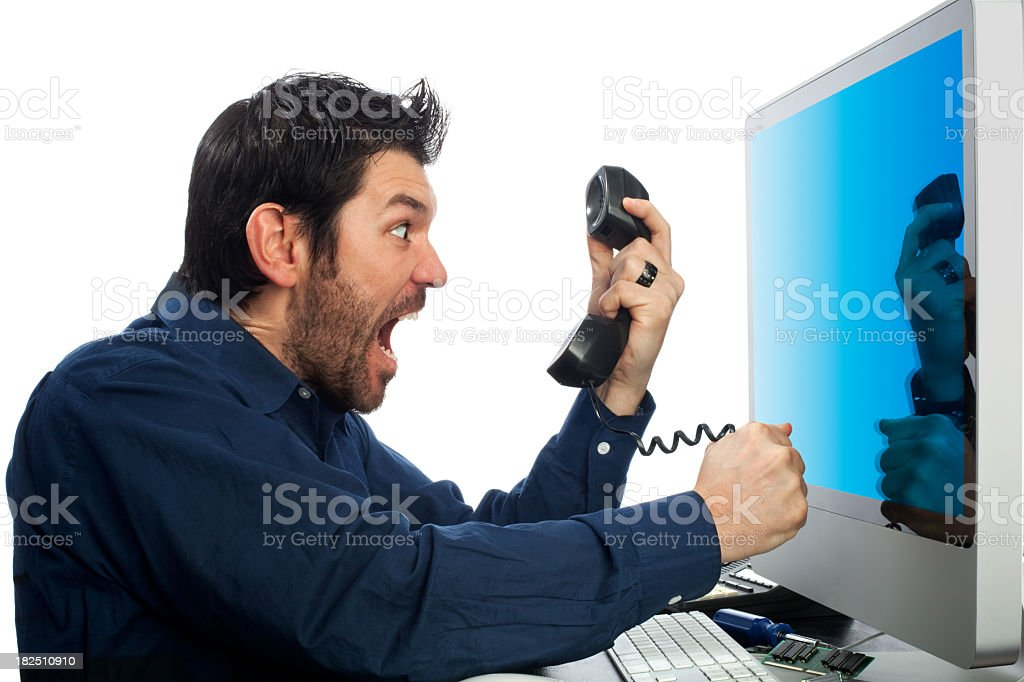 Angry Office Worker in Profile Shouting at Phone Isolated stock photo