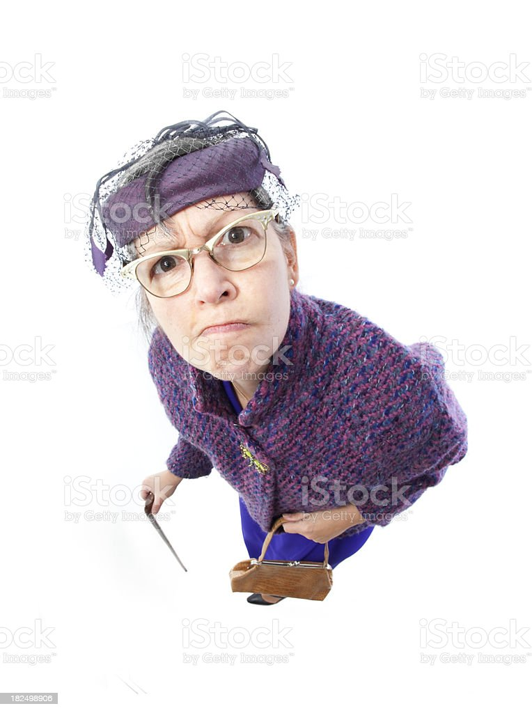 Angry old lady royalty-free stock photo