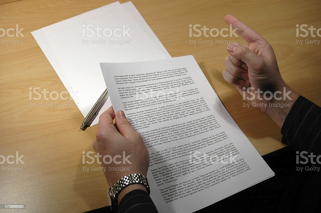 Angry over a Document royalty-free stock photo