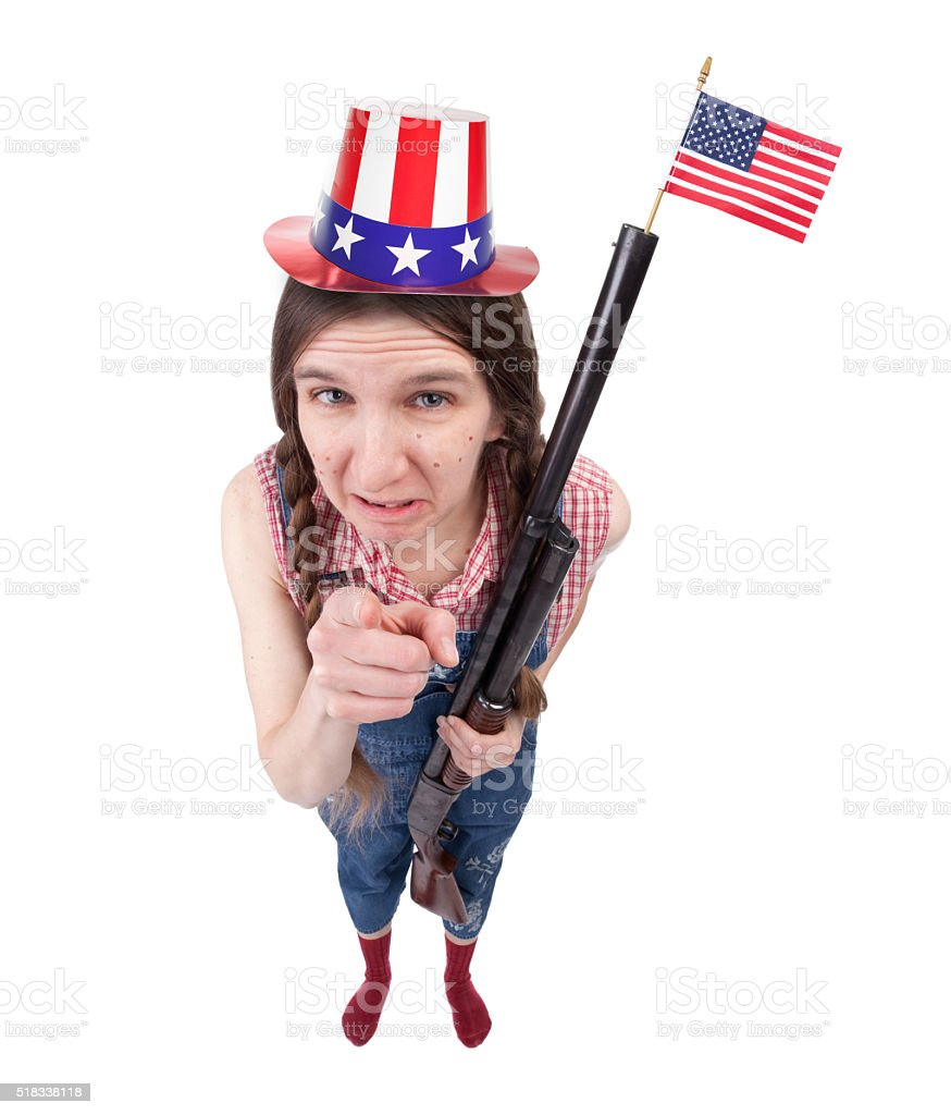 Angry Patriotic American Redneck Woman With Gun stock photo
