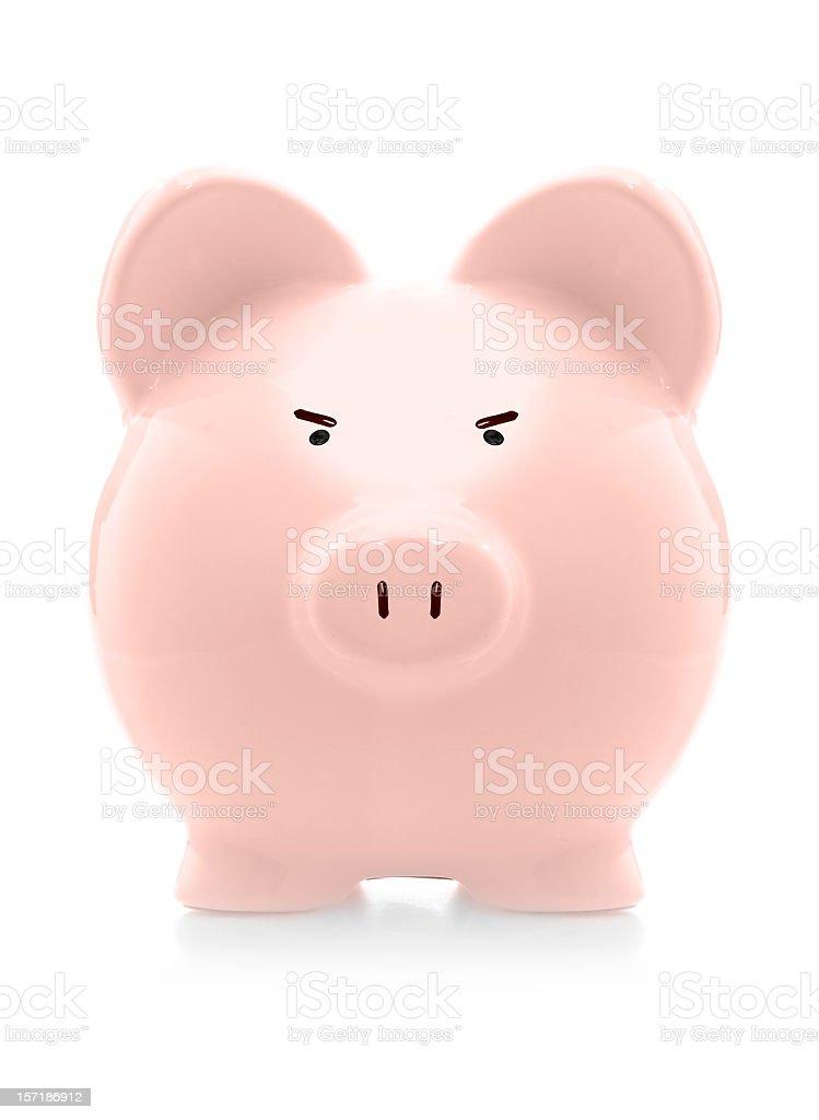 angry piggybank royalty-free stock photo