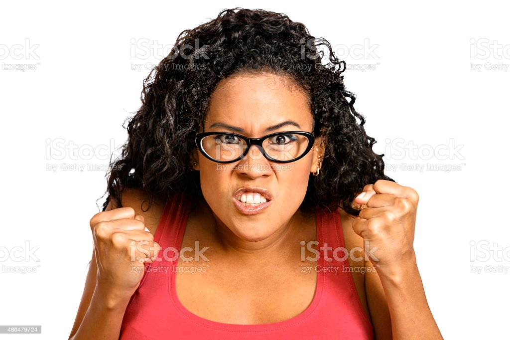 Angry, pissed off. Pacific islander young woman. Expression series. stock photo