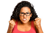Angry, pissed off. Pacific islander young woman. Expression series.