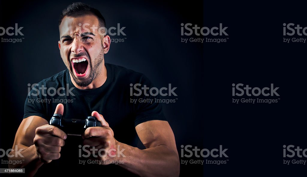 Angry Playing Video Games stock photo
