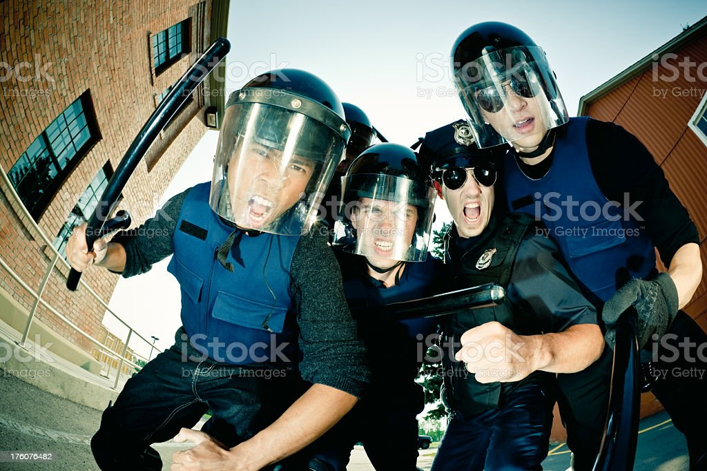 Angry Policemen royalty-free stock photo