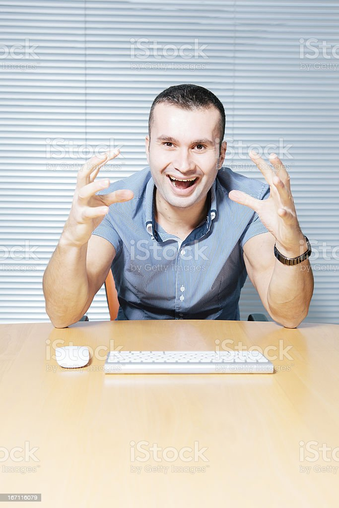 Angry Programmer Screaming At PC royalty-free stock photo
