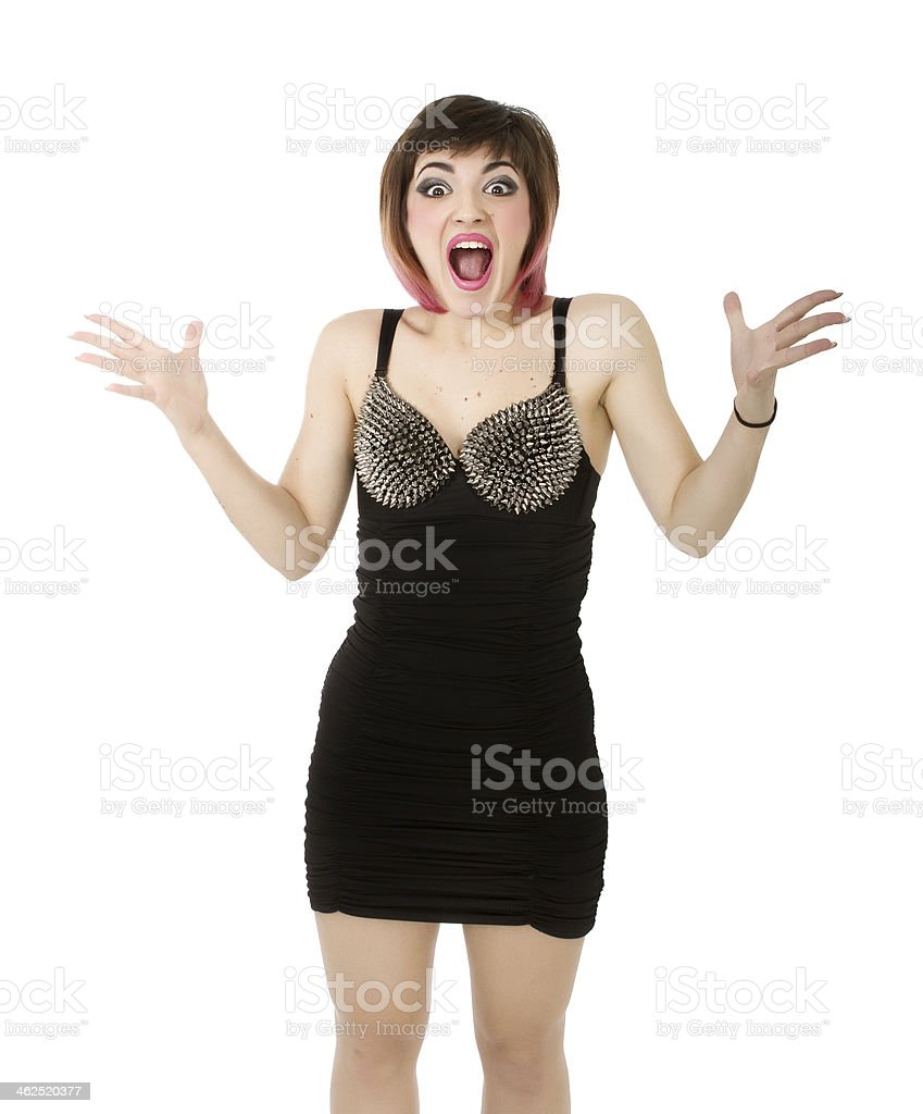 angry punk screaming in white background stock photo