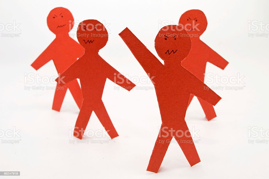 Angry red paper people stock photo