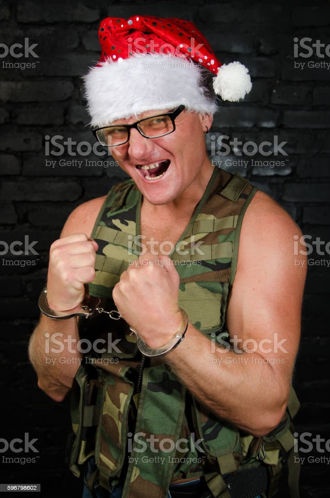 Angry Santa Claus. stock photo