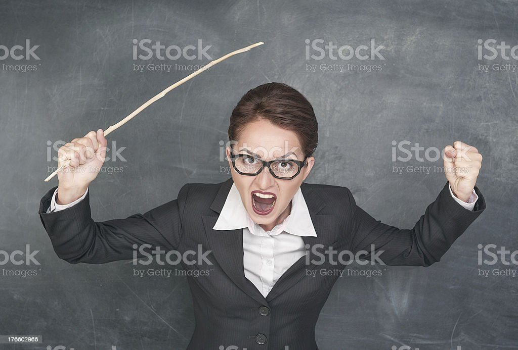 Angry screaming teacher royalty-free stock photo