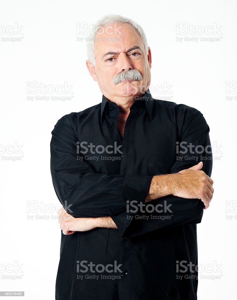 Angry senior man portrait stock photo
