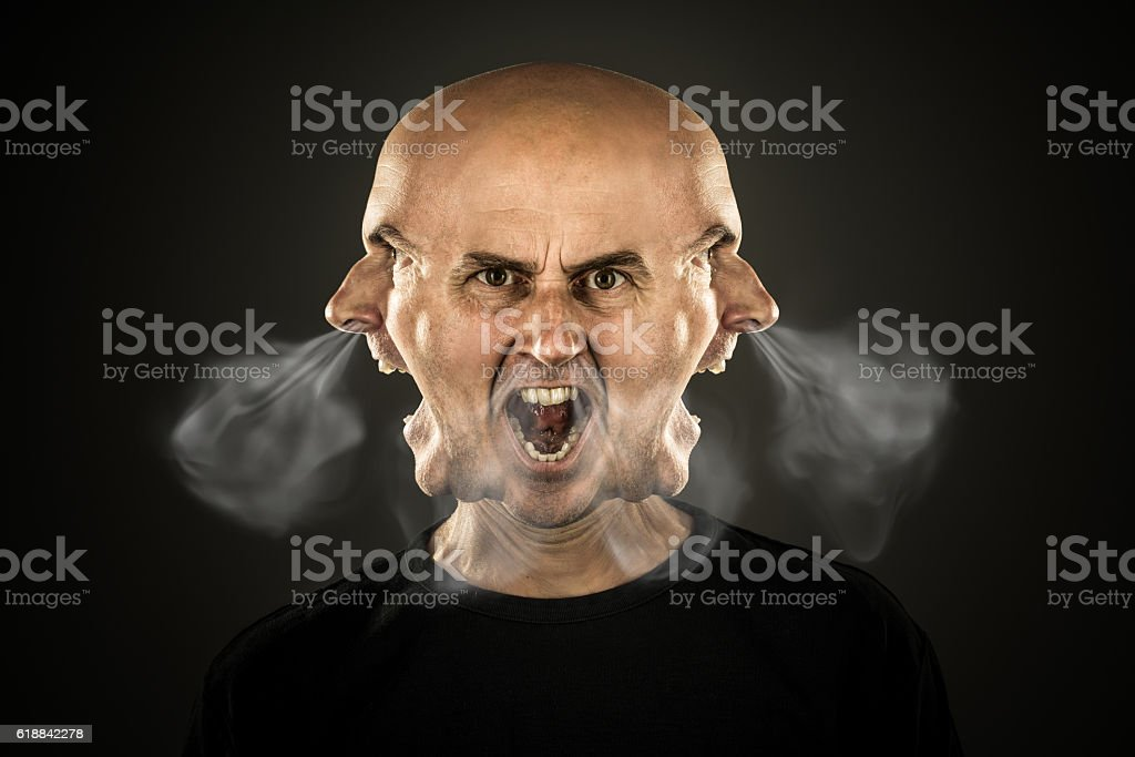 angry shouting man letting off steam stock photo